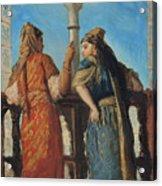 Jewish Women At The Balcony In Algiers Acrylic Print