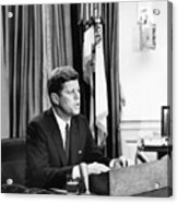 Jfk Addresses The Nation Painting Acrylic Print