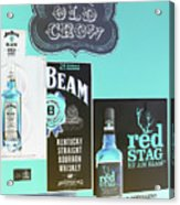 Jim Beam's Old Crow And Red Stag Signs - Color Invert Acrylic Print