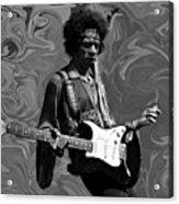 Jimi Hendrix Purple Haze B W Acrylic Print