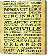 Jimmy Buffett Margaritaville Locations Black Font On Yellow Brown Texture Acrylic Print