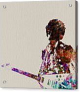 Jimmy Hendrix With Guitar Acrylic Print