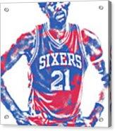 Joel Embiid Philadelphia Sixers Pixel Art 10 Acrylic Print