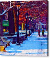 Jogging In The Snow Along Boathouse Row Acrylic Print