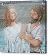 John Baptizing Jesus Acrylic Print by Janna Columbus