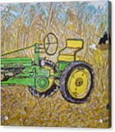 John Deere Tractor And The Scarecrow Acrylic Print