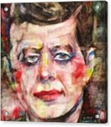John F. Kennedy - Watercolor Portrait.3 Acrylic Print