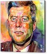 John F. Kennedy Watercolor Acrylic Print