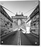 John Roebling Bridge Entrance - Cincinnati Ohio Black And White Acrylic Print