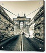 John Roebling Bridge Entrance - Cincinnati Ohio Sepia Print Acrylic Print