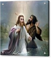 John The Baptist Baptizes Jesus Christ Acrylic Print by War Is Hell Store
