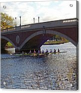John Weeks Bridge Harvard Square Chales River Sunset Rowers Acrylic Print
