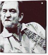 Johnny Cash Beer Cap Mosiac Acrylic Print