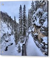 Johnston Canyon Winter Boardwalk Acrylic Print