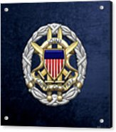 Joint Chiefs Of Staff - J C S Identification Badge On Blue Velvet Acrylic Print