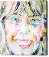 Joni Mitchell - Watercolor Portrait Acrylic Print