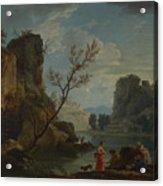 Joseph Vernet   A River With Fishermen Acrylic Print