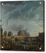 Joseph Vernet   A Sporting Contest On The Tiber At Rome Acrylic Print