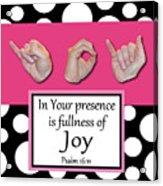Joy - Bw Graphic Acrylic Print