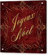 Joyeux Noel In Red And Gold Acrylic Print