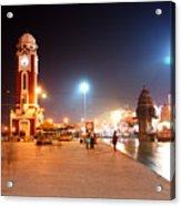 Jp025 The Clock Tower On The Malviya Dwipa At Har-ki-pauri Acrylic Print