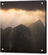Sun Shining Through The Storm Clouds In The Mountains Acrylic Print