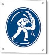 Judo Combatants Throw Circle Icon Acrylic Print