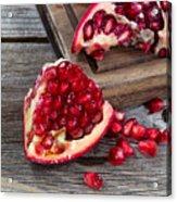 Juicy Ripe Pomegranates On Vintage Wood  Acrylic Print