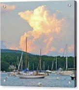 July Sky Over A Maine Harbor Acrylic Print