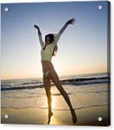Jump - Beach Acrylic Print