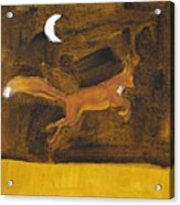 Jumping Fox And The Moon Acrylic Print