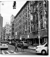 junction of bayard street and mulberry street chinatown New York City USA Acrylic Print