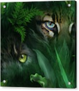Jungle Eyes - Panther And Ocelot  Acrylic Print