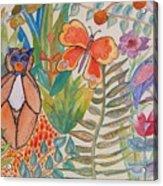 Jungle Scene With Monkey Acrylic Print