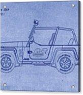 Jurassic Park Jeep Blueprint Acrylic Print