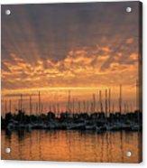 Just A Sliver Of The Sun - Sunrise God Rays At The Marina Acrylic Print