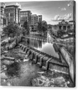Just Before Sunset B W Reedy River Falls Park Greenville South Carolina Art Acrylic Print