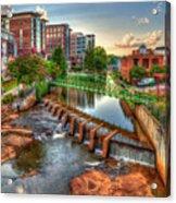 Just Before Sunset Reedy River Falls Park Greenville South Carolina Art Acrylic Print