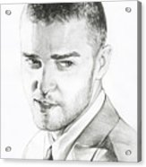 Justin Timberlake Drawing Acrylic Print by Lin Petershagen