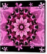 Kaleidoscope 1 With Black Flower Framing Acrylic Print