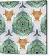 Kaleidoscope In Mint And Orange Acrylic Print
