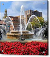Kansas City Fountain Ablaze In Crimson Acrylic Print