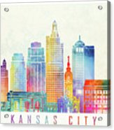 Kansas City Landmarks Watercolor Poster Acrylic Print