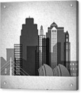 Kansas City Skyline In Black And White Acrylic Print