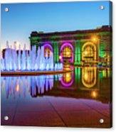 Kansas City Union Station Bloch Fountain Lights At Dusk Acrylic Print