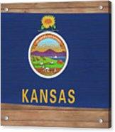 Kansas Rustic Map On Wood Acrylic Print