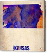 Kansas Watercolor Map Acrylic Print by Naxart Studio
