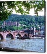 Karl Theodor Bridge And Heidelberg Castle  Acrylic Print