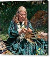 Kashia Pomo Woman Weaving Basket Acrylic Print