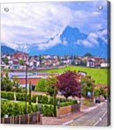 Kastelruth And Schlern Peak In Alps Landscape View Acrylic Print